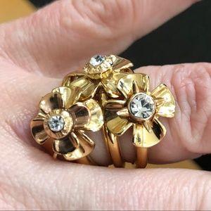 Henri Bendel Trio Flower Ring SIze 7